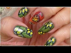 One Stroke Flower Nail Art Design By KhoobSurati.com