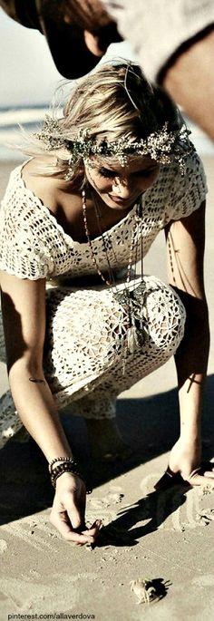 ☯☮ॐ American Hippie Bohemian Style ~ Summer Lace Dress!! ❤️