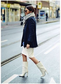 scarf, skirt & mid boot #style #fashion