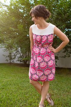Even beginners can sew up this simple sleeveless dress! Use a bold floral for a fun summer look.