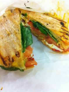 ... light cream cheese, roasted pepper hummus, spinach, tomato and onion