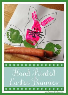 In this fun Easter activity for kids, children will create bunny faces with their own hands and feet! Sometimes the simplest sensory activities can inspire the some creative artwork too!  #eastercraft #bunny #sensoryactivities #paintwithkids