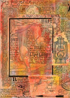 Patience ~ by AnicaAnscott (A. J. Tallman). Like the overall page composition, detailed drawing, & the journal entry itself.     #art #journal