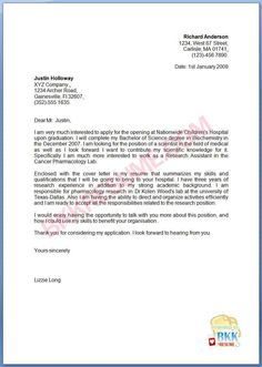 cover letter examples graduate school