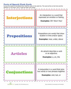 Worksheets: 8 Parts of Speech