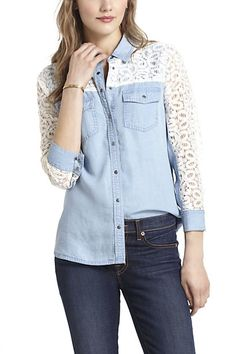 totally in love with this chambray + lace top from anthro!! ahh