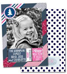 holiday photo cards, preppy photo cards, modern christmas cards, polka dots, chevron, glitter via Party Box Design