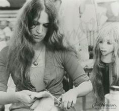 Wendy Froud working on a Gelfling