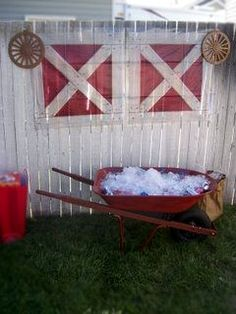 use wheelbarrow as a drink bucket - western/farm party Kinda funny, I'm pretty sure we did this when i was a kid. :D
