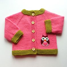 Owl baby jacket pink knit baby girl sweater MADE TO by Tuttolv