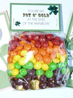 St. Patrick's Day treat - cute to give out to co-workers and classmates! Easy to make with cello bags and card stock too!