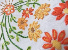 Vintage embroidered tablecloth with orange, peach and apricot flowers #etsy