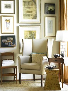 galleries, hanging art, living rooms, frame, wing chairs, gallery walls, galleri wall, wingback chairs, art wall