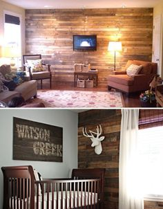 OOO love the idea of taking apart pallets to create a paneled accent wall!  i love the color variation and rustic feel old pallets provide