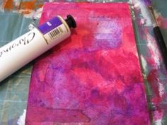 Using acrylic paints to create a colourful background - Three Simple Mixed Media Painting Techniques