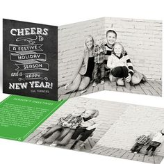 Photo Christmas Cards  -- Chalkboard Trifold Greeting. It's the vintage look of the chalkboard message that gives these trifold Christmas cards the style you're looking for! #christmascards