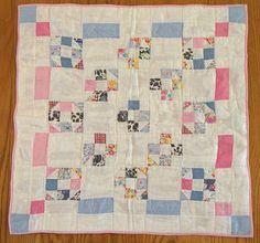 "Doll Bed Quilt Vintage Fabric Nine Patch Cotton 21"" x 22"" C 1940 Documentation   eBay"