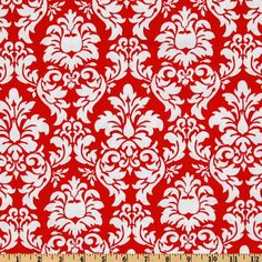 Michael Miller Dandy Damask Rouge from @fabricdotcom  Designed for Michael Miller Fabrics, this fabric features an allover damask design in red on a white background. Use for quilting and craft projects.