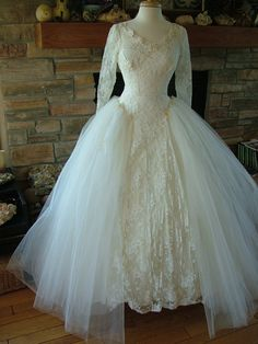 1950s fashion wedding dress with lace tulle, sequins, and beads