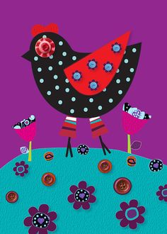 Polka Dot Hen and Buttons Art. Nursery and Kids decor room and by Lespetitsbuttons