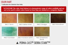 Concrete stain color chart offered by Butterfield Color covers their Perma-Cast Sierra Stain line of acid stains.