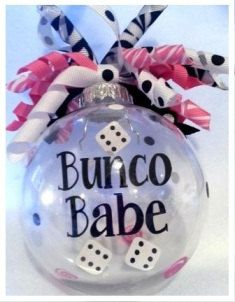 Bunco Babe Christmas ornament with ribbon by KoozieQ on Etsy, $10.00