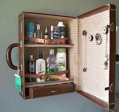 vintage suitcase vanity cabinet - OMG I LOVE this!