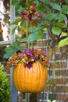 plant hangers, autumn, flower baskets, hang pumpkin, front doors, fall decorations, fall porches, front porches, hanging baskets