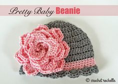 Crochet Rochelle: Pretty Baby Beanie using Caron Simply Soft yarn  size 0-3 months with link to bigger sizes.