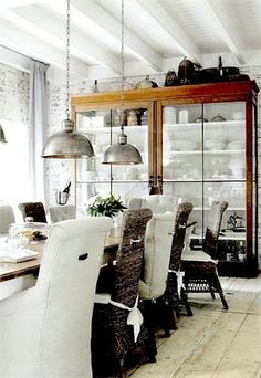 dining rooms, interior, china cabinets, dine room, chairs, industrial chic, ceilings, pendant lights, kitchen