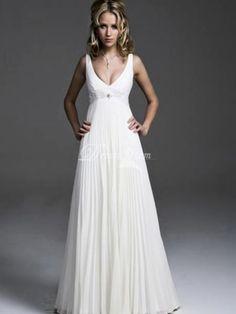 Informal  Casual / Chic  Modern Empire Waist Wedding Dress for Beach / Destination Wedding (319ABDZ)