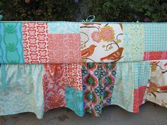 #patchwork crib bumper and skirt