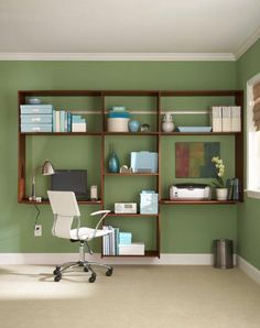 Organize your home office with customized shelving solutions.