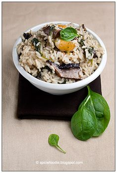 pears, mushrooms and spinach