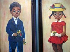Big Eyed Children Print African American Boy/Girl by RoseWaterCreek,