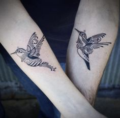 Matching tattoos. Incredible hummingbirds by David Hale