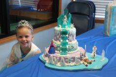This Frozen cake was designed for my beautiful granddaughter's 5th birthday party.  I made the stairs and ice castle out of candy.  I frosted with yummy buttercream and used fondant for Sven, Olaf and for accenting.  All of the cake is edible accept Elsa and Anna which are figurines that my granddaughter can keep and play with.  This cake took most of the week to complete but it was a fun adventure and most importantly brought a beautiful smile to my granddaughters face.