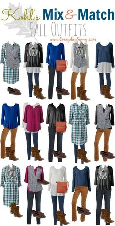 15 fun fall casual mix and match outfits from Kohls. Includes booties and a pop of color with a cross body bag.