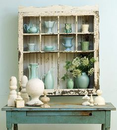 Give a cast-off window new life by turning it into a rustic cupboard. Construct a three-sided box to fit the window. Install shelves to align with the window muntins. Then attach the window to the front with flat hinges. Now you've created nooks to display pottery and other treasures.