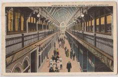 "1921 Cleveland Ohio Postcard ""Interior of Colonial Arcade"" People Scene 