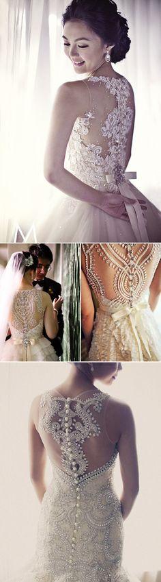 38 Stunning Lace Back Wedding Dresses - Veluz Reyes