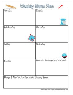 Free Printable Weekly Menu Planning Page | manylittleblessings.com
