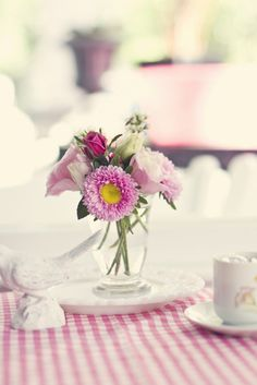 flowers and pink gingham