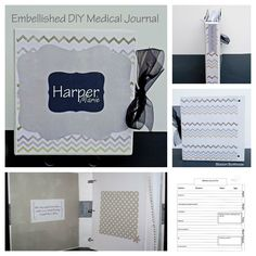 Embellished DIY Medical Journal with free Medical Journal Log printable.  Makes a great baby shower gift!