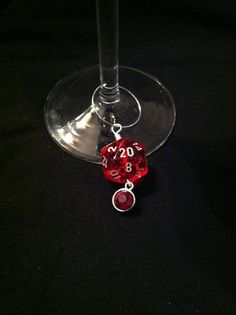 Red D20 wine charm with faux gem $4