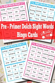 Pre-Primer Dolch Sight Words Bingo Cards Free Printables for Kids