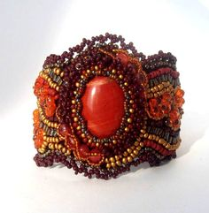 Bead embroidered cuff bracelet