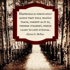 """""""Happiness is found only along that well beaten track, narrow as it is, though straight, which leads to life eternal."""" -David O. McKay http://lifebeforelife.org/753/agency-gods-great-gift-to-us"""