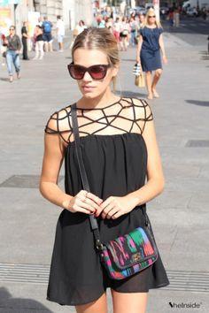 Black Cut Out Shift Chiffon Mini Dress