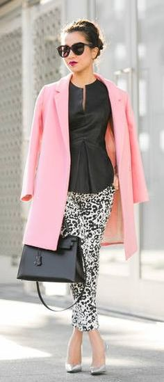 my black BCGC capris paired with black blouse & pink blazer